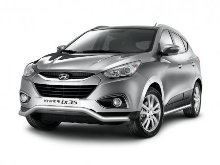 Защита порогов d63мм Hyundai IX35 (нерж)